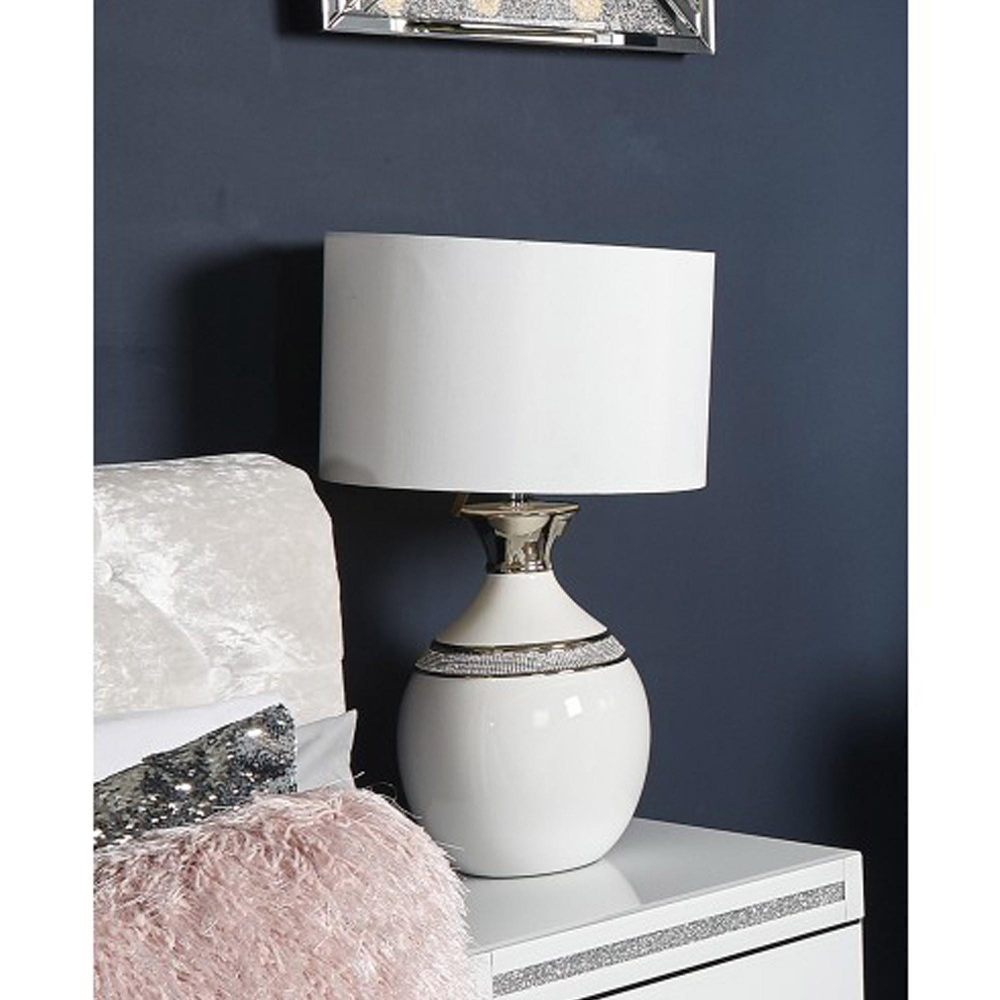 White Manhattan Oval Table Lamp