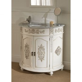 Semi circular antique french vanity unit for Antique bathroom vanity units