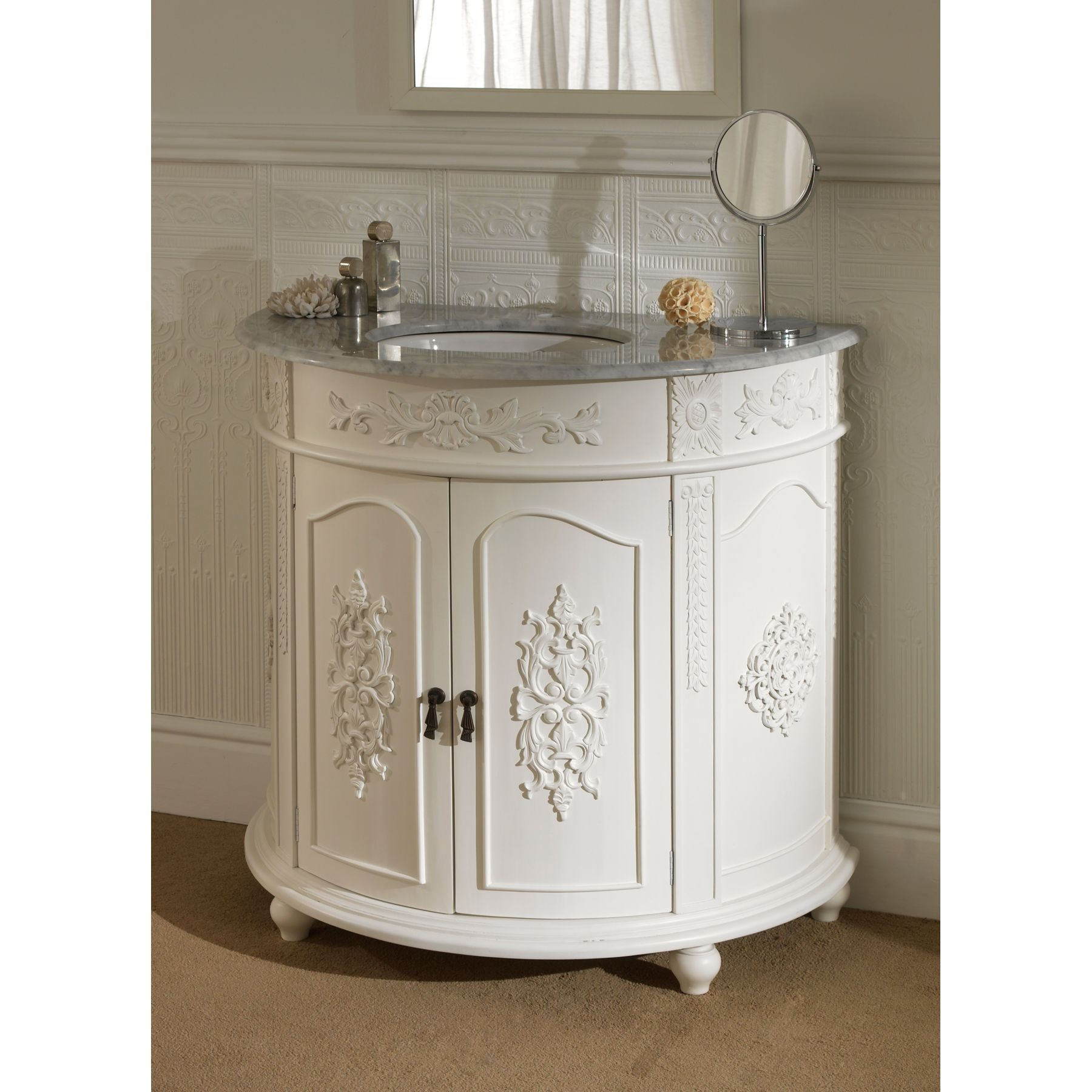 Semi circular antique french vanity unit for Vanity sink units bathroom sale