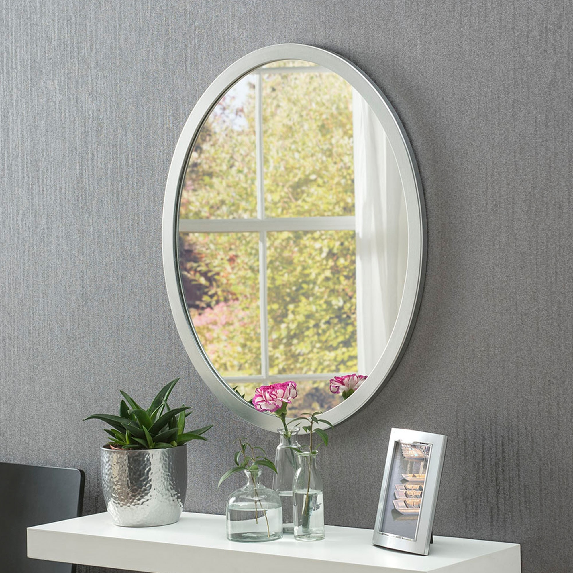 Classic Oval Silver Wall Mirror Wall Mirrors