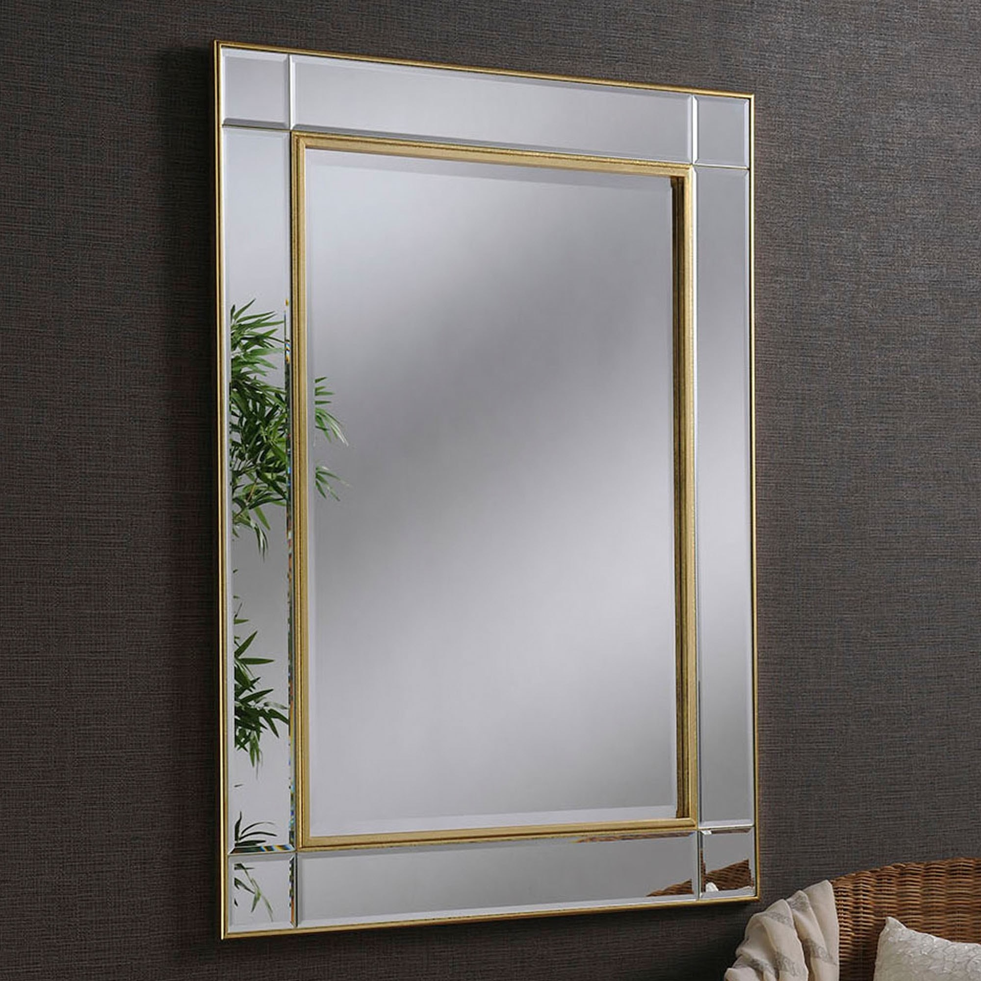 Contemporary Gold Beveled Wall Mirror | Contemporary Wall ...