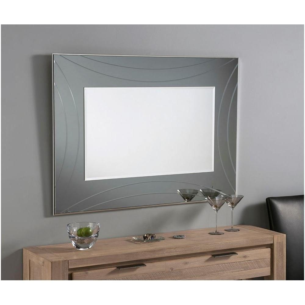 Contemporary Grey Rectangular Wall Mirror Homesdirect365