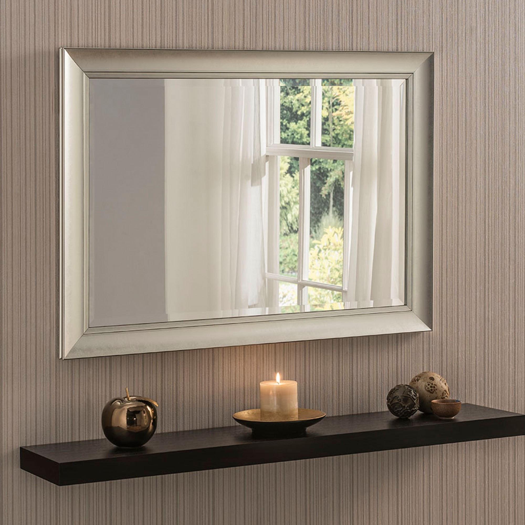 Contemporary Silver Beveled Wall Mirror Wall Mirrors