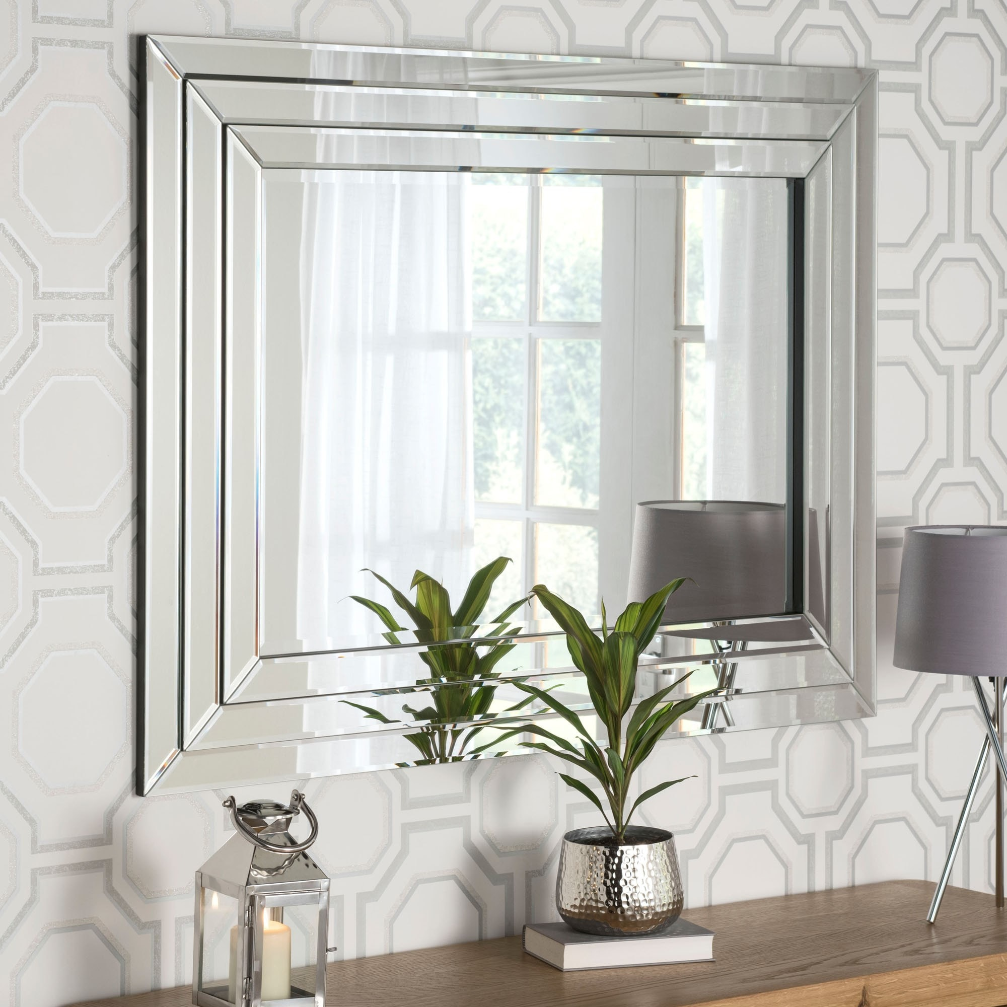 Contemporary Silver Mirrored Wall Mirror Contemporary Wall Mirrors