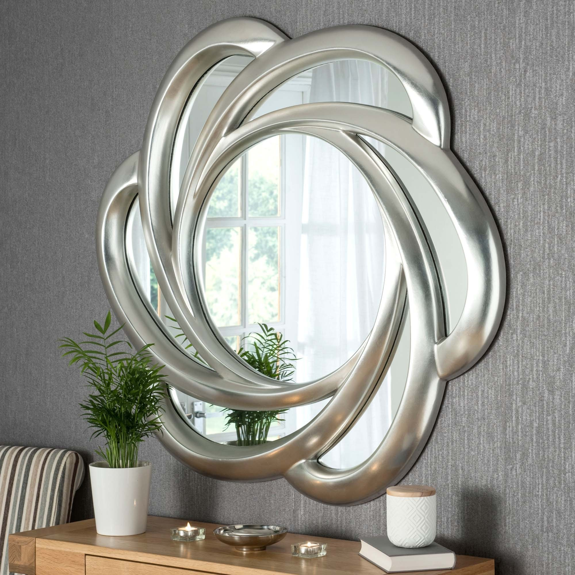 Contemporary Silver Swirl Wall Mirror | Wall Mirrors on Wall Mirrors id=81689