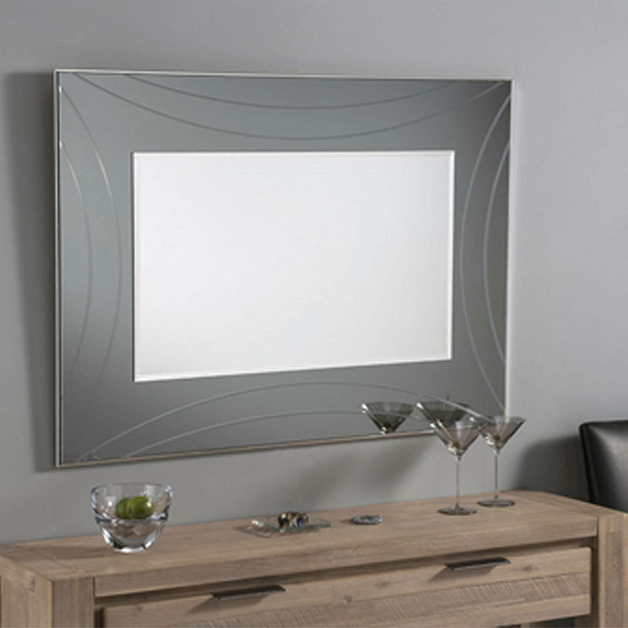 Contemporary Wall Mirror Grey Rectangular Bold Frame Wall Mirrors