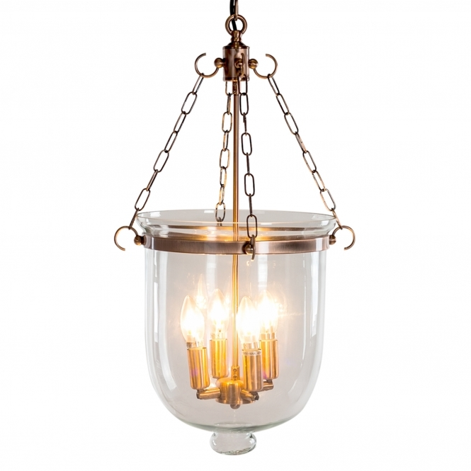 Copper & Glass Bell Jar Chandelier