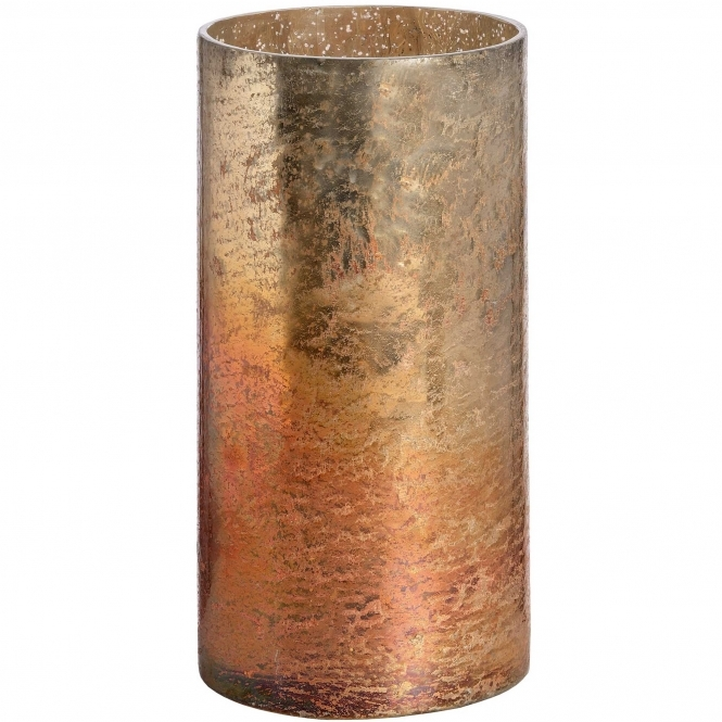 Copper Metallic Glass Large Candle Holder