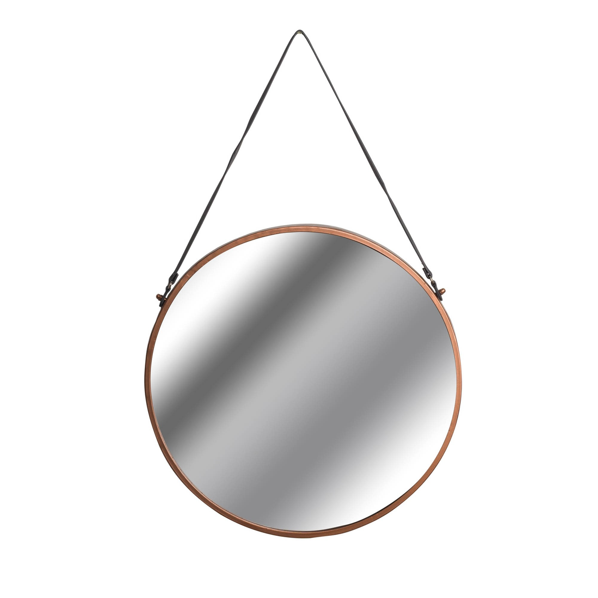 Copper Rimmed Round Hanging Wall Mirror With Black Strap Round Mirrors