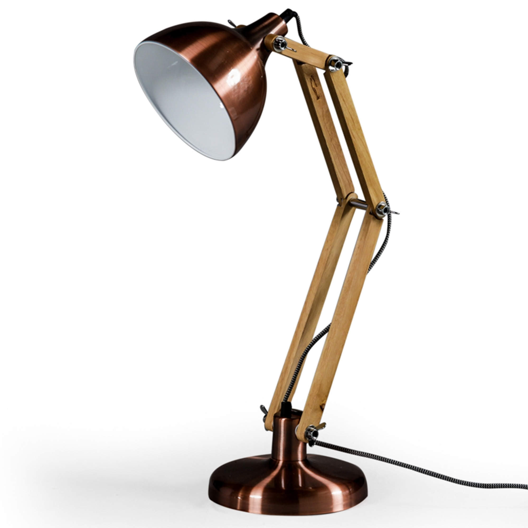 Copper wooden desk lamp