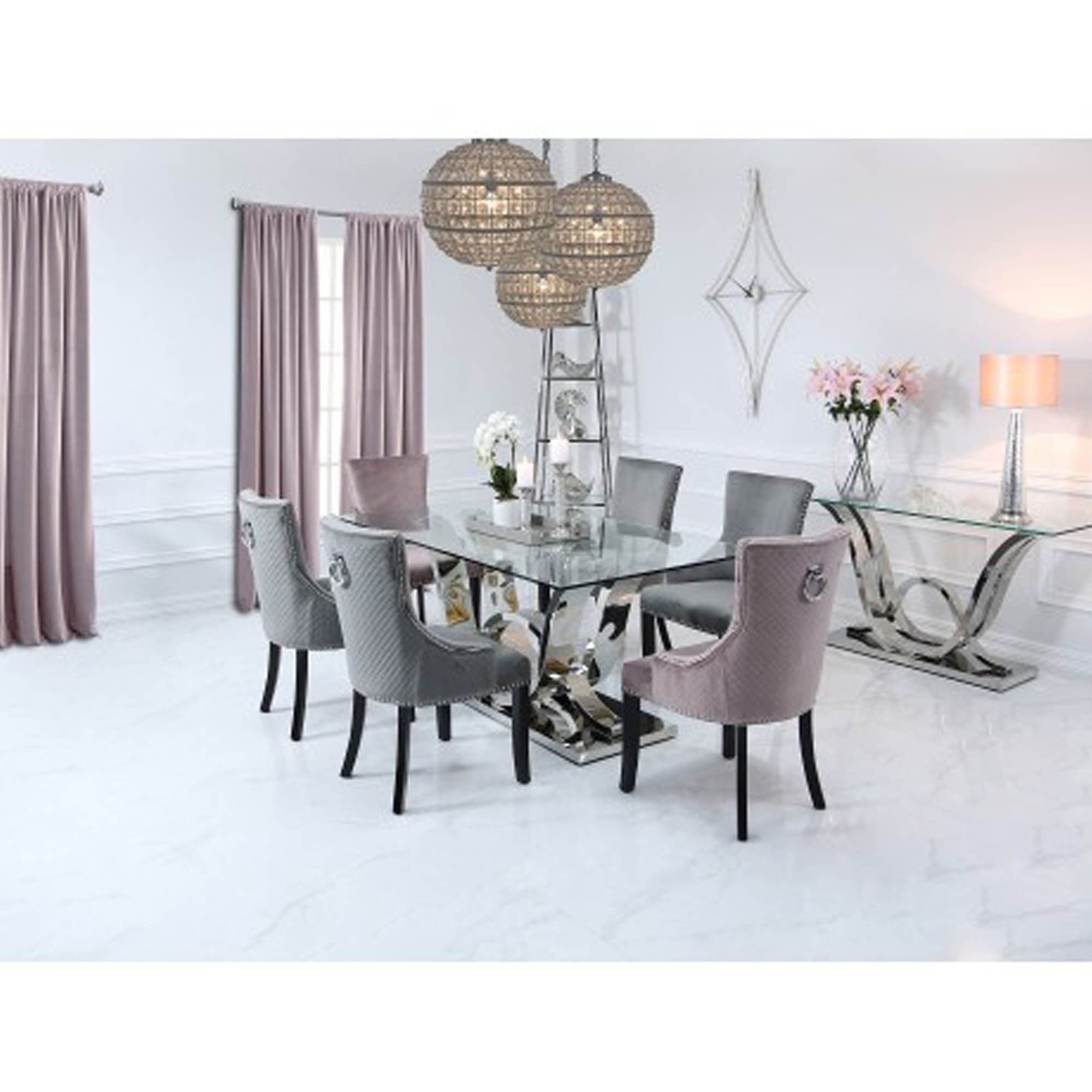 cordelia glass  stainless steel dining table  glass