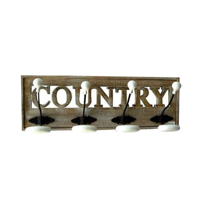 'COUNTRY' 4 Hooks Coat Rack
