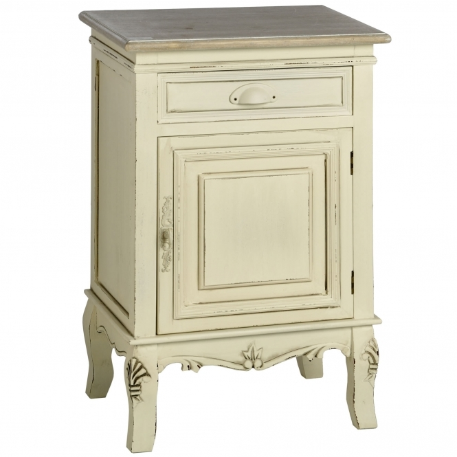 Country Farmhouse Antique French Style Bedside Cabinet (Right Hand)