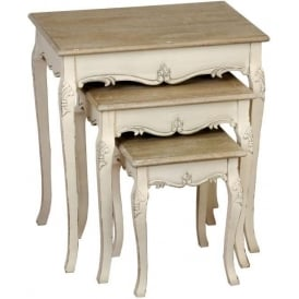 Country Farmhouse Antique French Style Nest of Tables