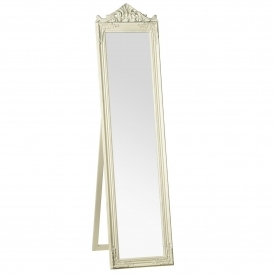 Cream Antique French Style Boudoir Floor Standing Mirror
