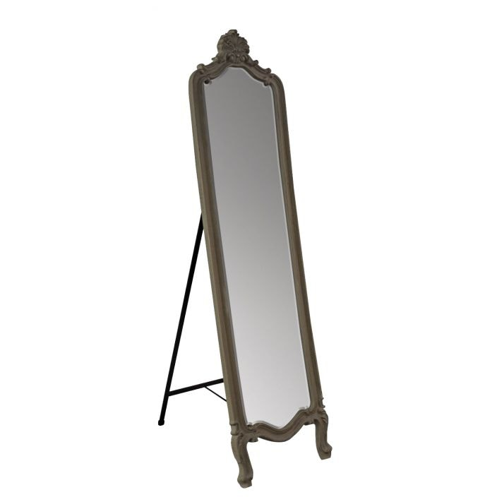 Cream Antique French Style Cheval Mirror Shabby Chic