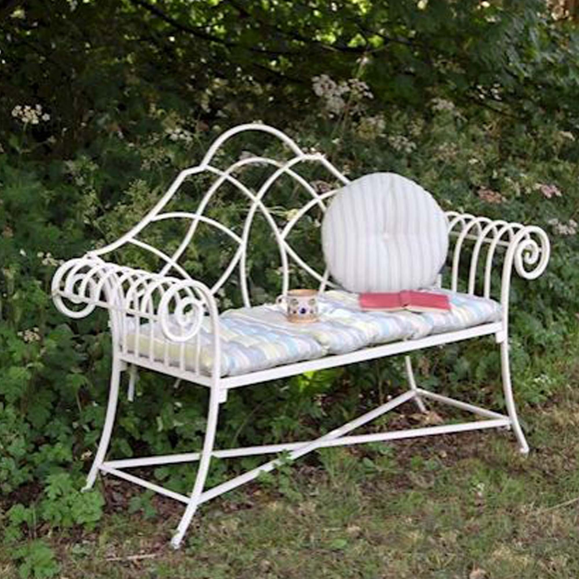Cream Antique French Style Outdoor Bench Outdoor
