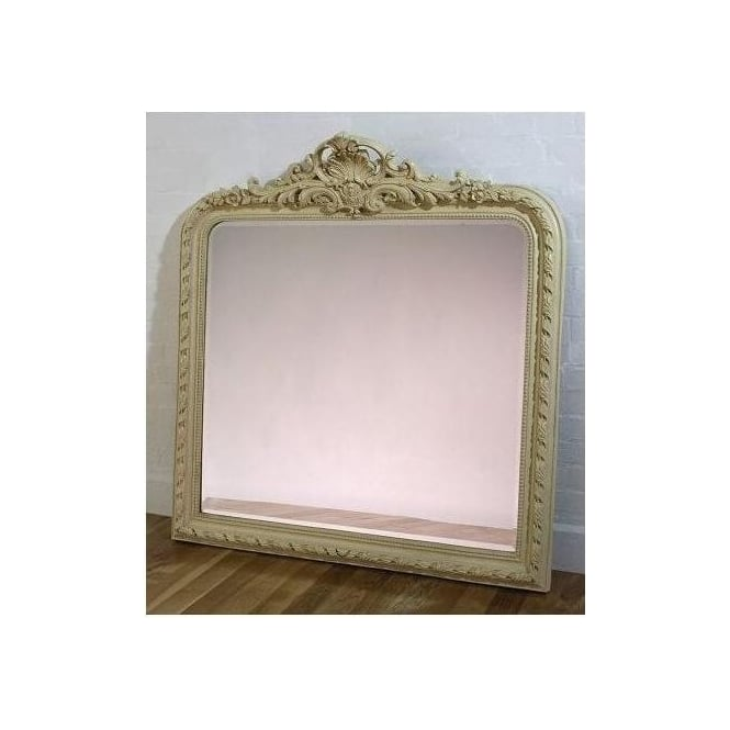 Cream Antique French Style Overmantle Mirror