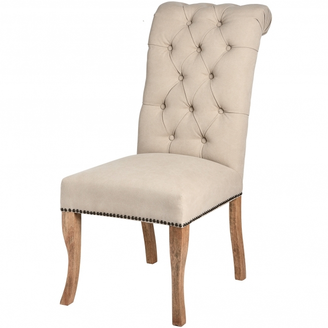 Cream Antique French Style Roll Top Knocker Chair
