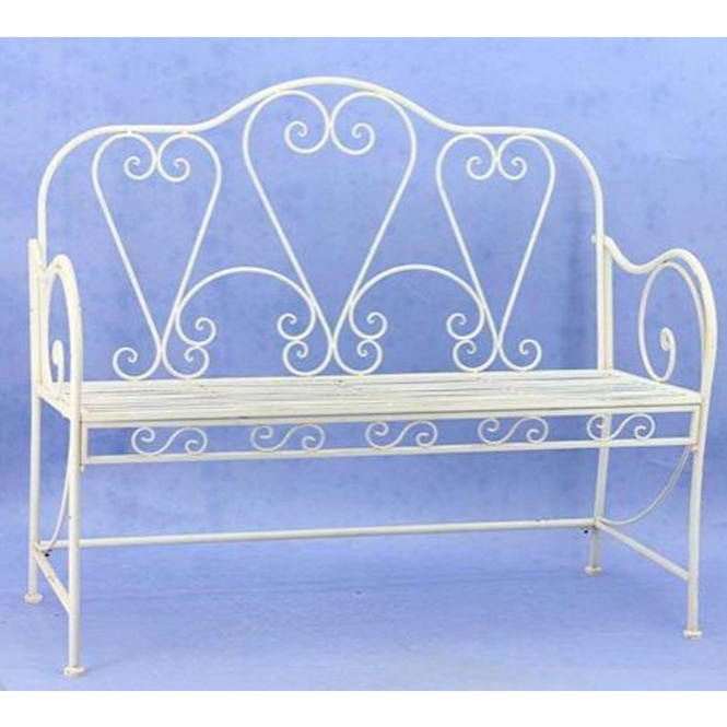 Cream Cafe Antique French Style Outdoor Bench