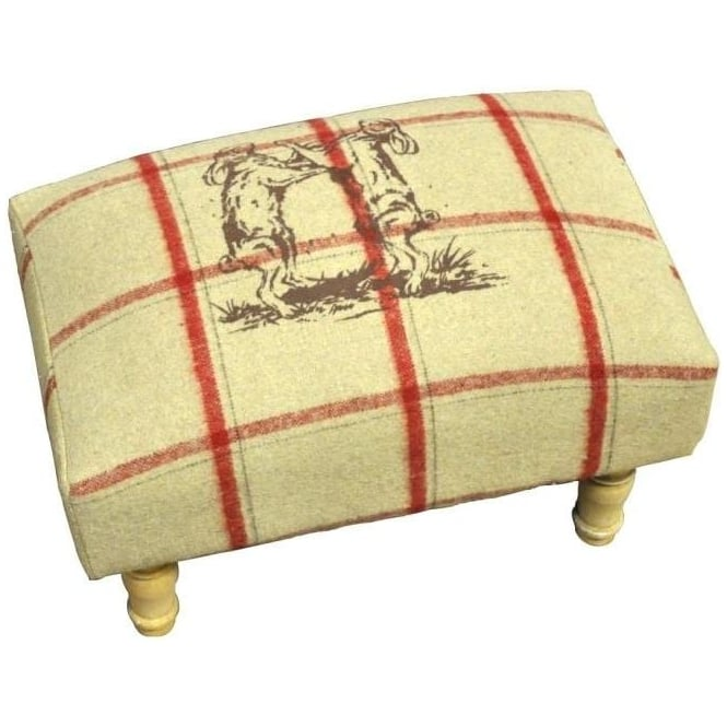 Cream Checked Dancing Hares Footstool