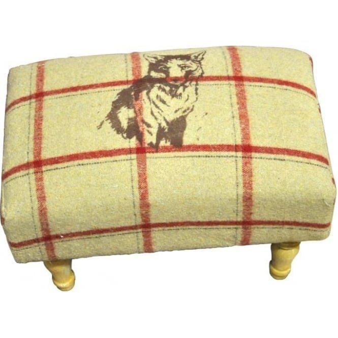 Cream Checked Fox Footstool