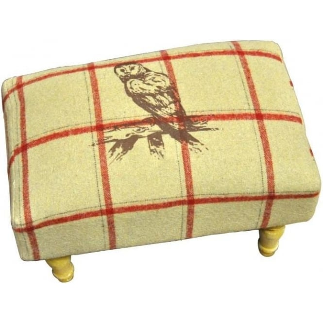 Cream Checked Owl Footstool