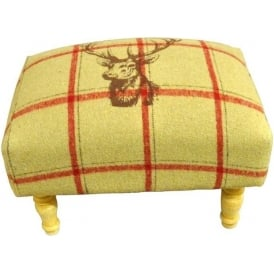 Cream Checked Stags Head Footstool