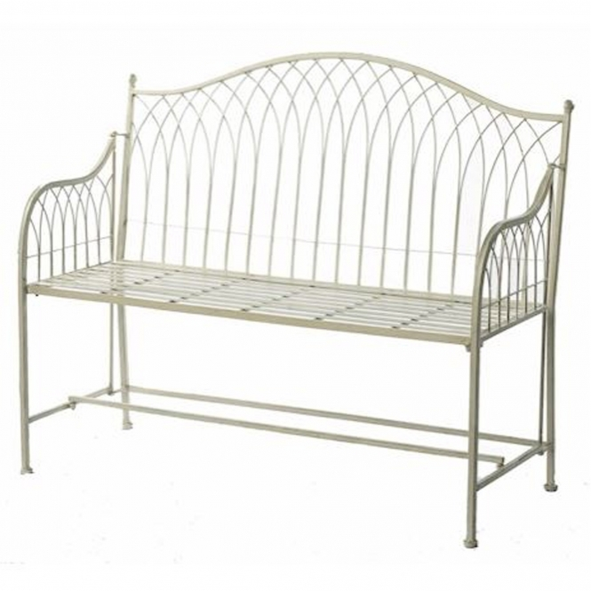 Cream Hampton Shabby Chic Outdoor Bench