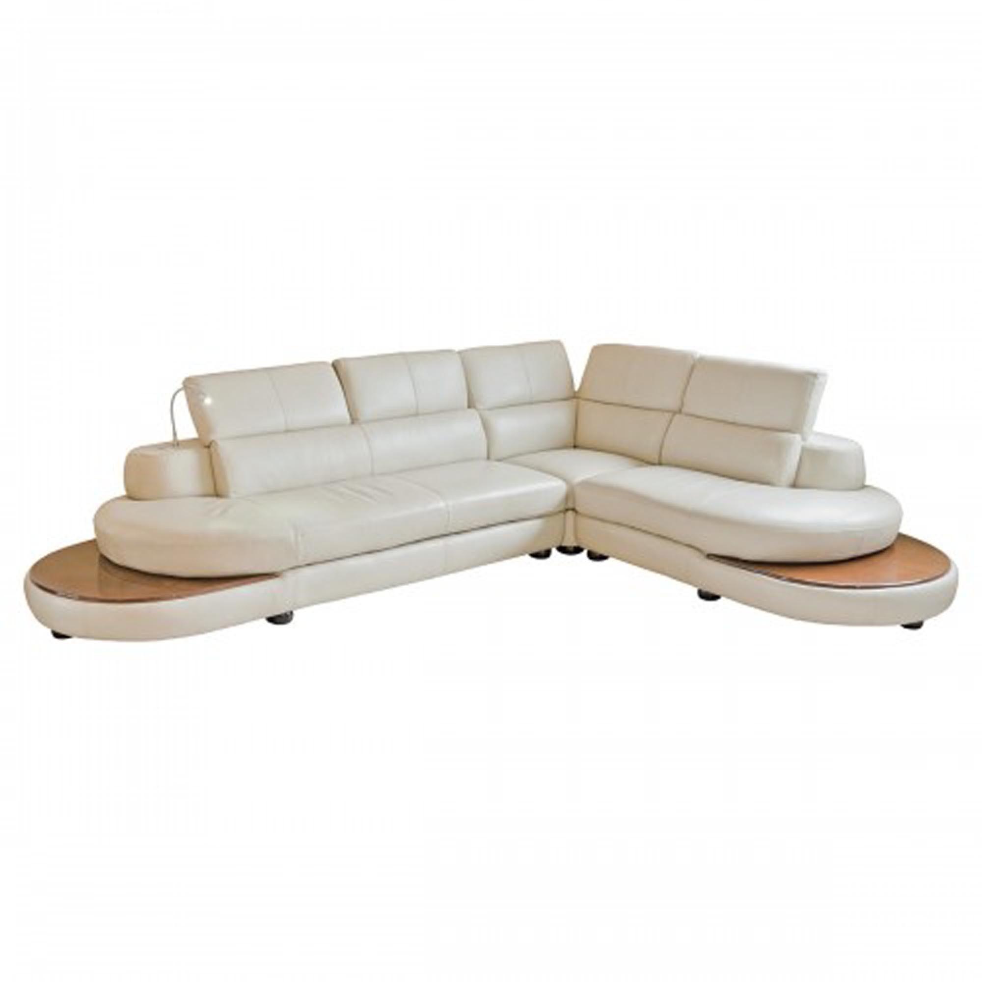 Cream Leather Corner Sofa with LED Light