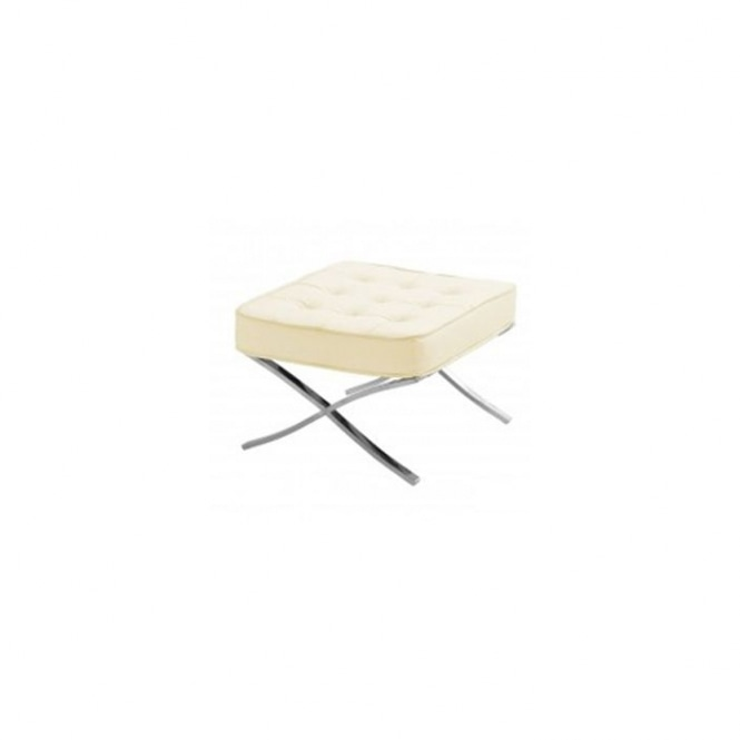 Cream Leather Stool