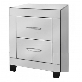 Cremona Clear Mirrored Bedside Cabinet