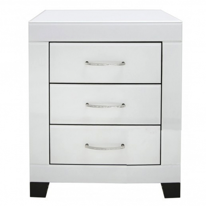 Cremona White Mirrored Bedside Cabinet