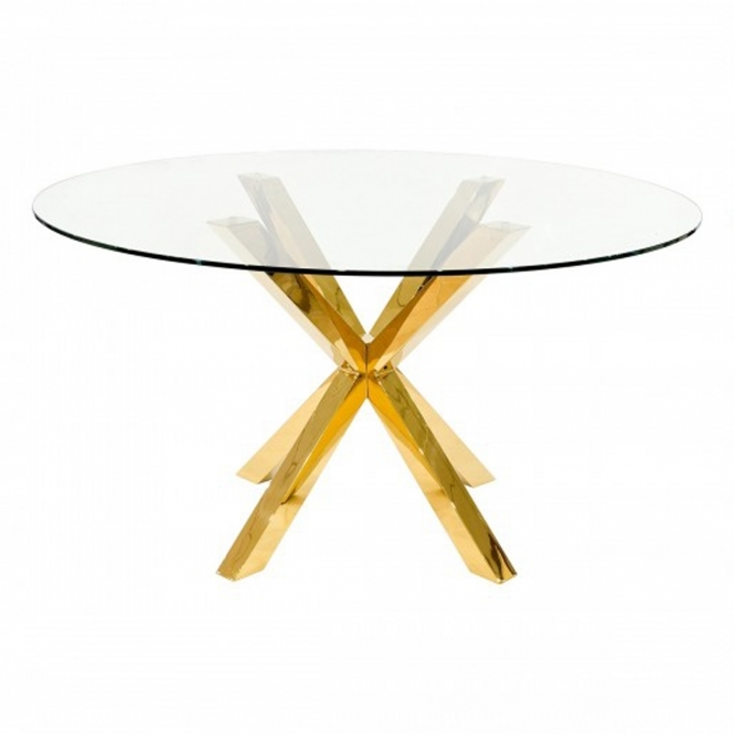 Crossly Round Gold Dining Table