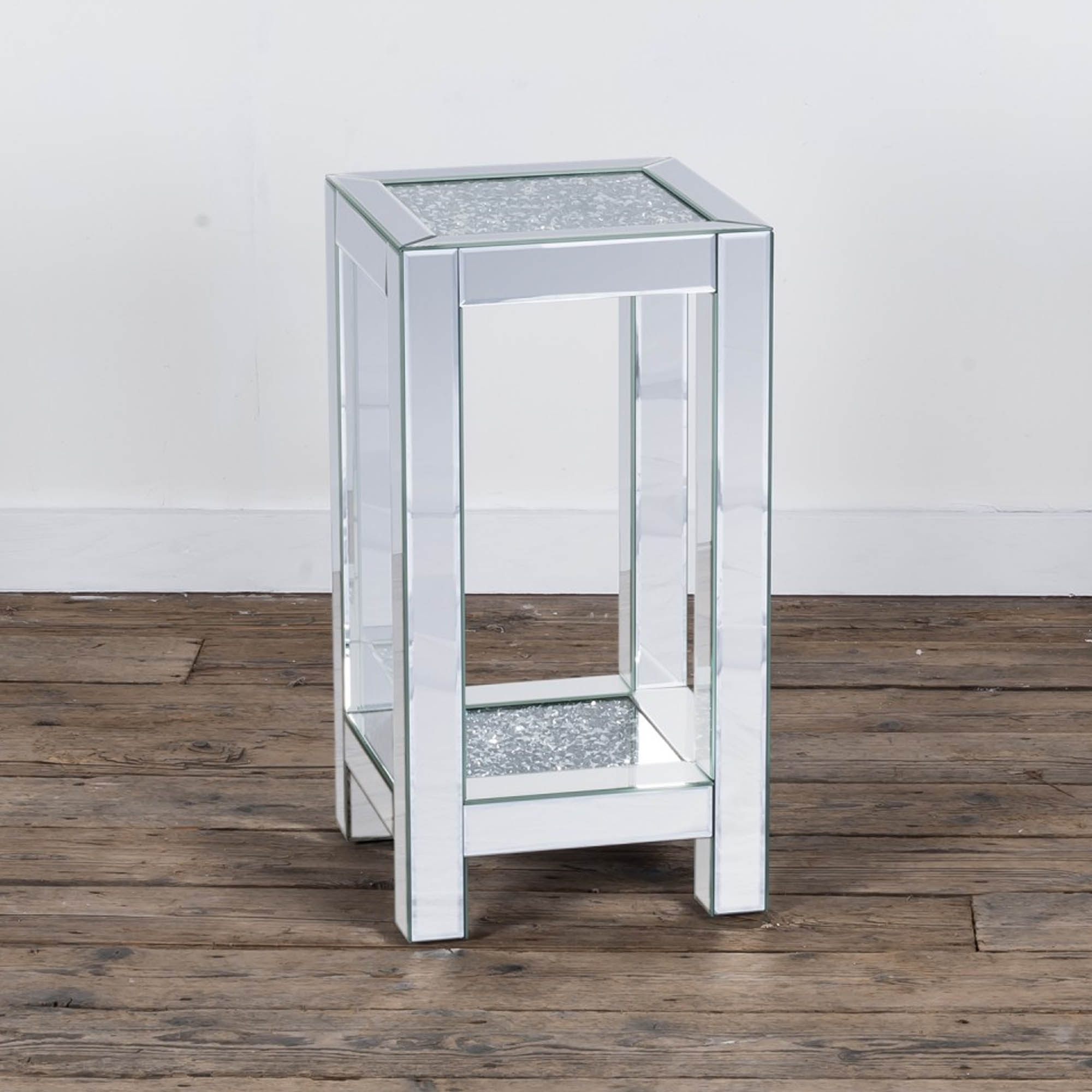 mirrored side table. Crushed Diamond Mirrored Side Table