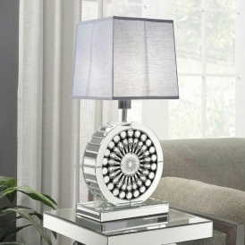 Crystal Grey Mirrored Table Lamp