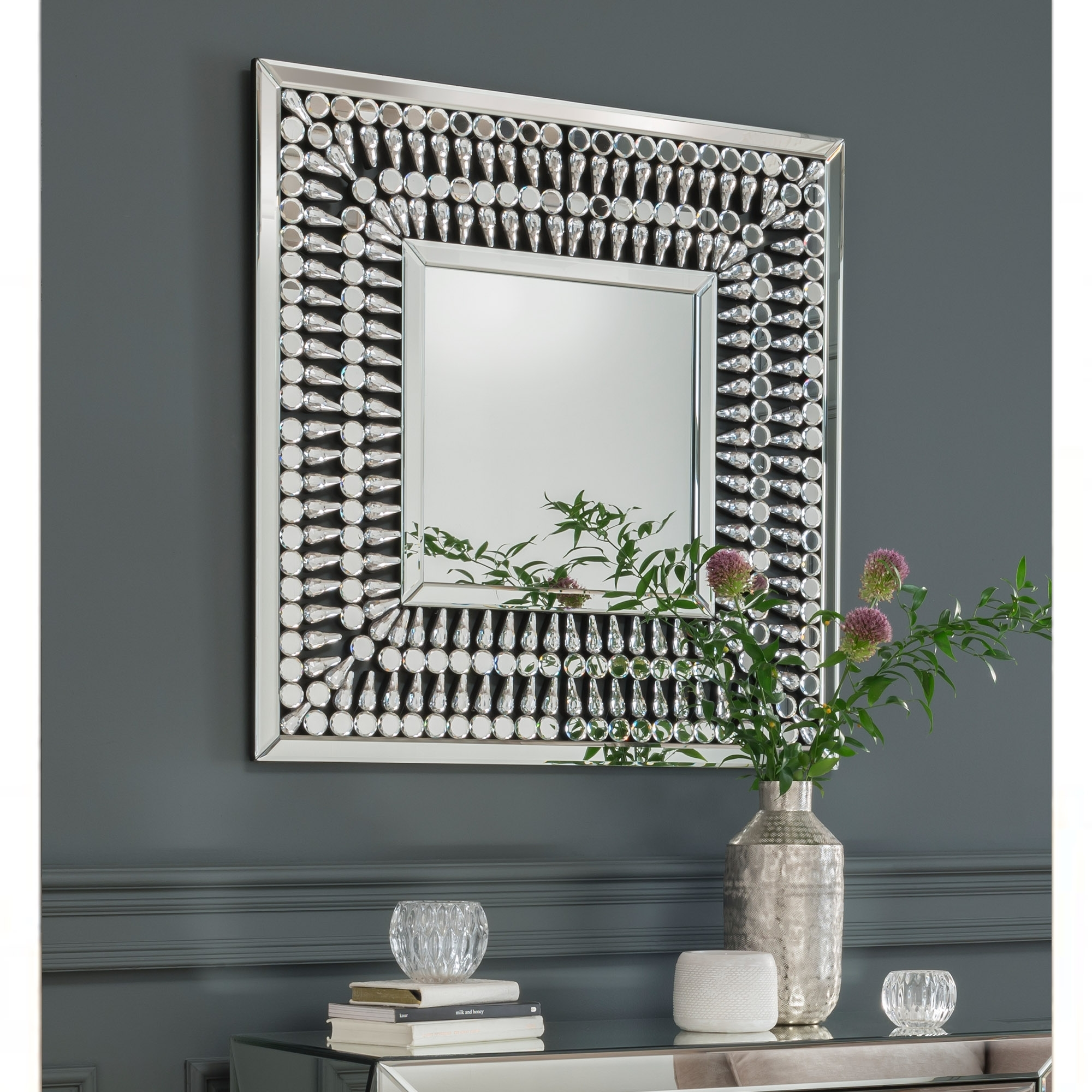 Crystal Mirrored Square Wall Mirror Wall Mirror
