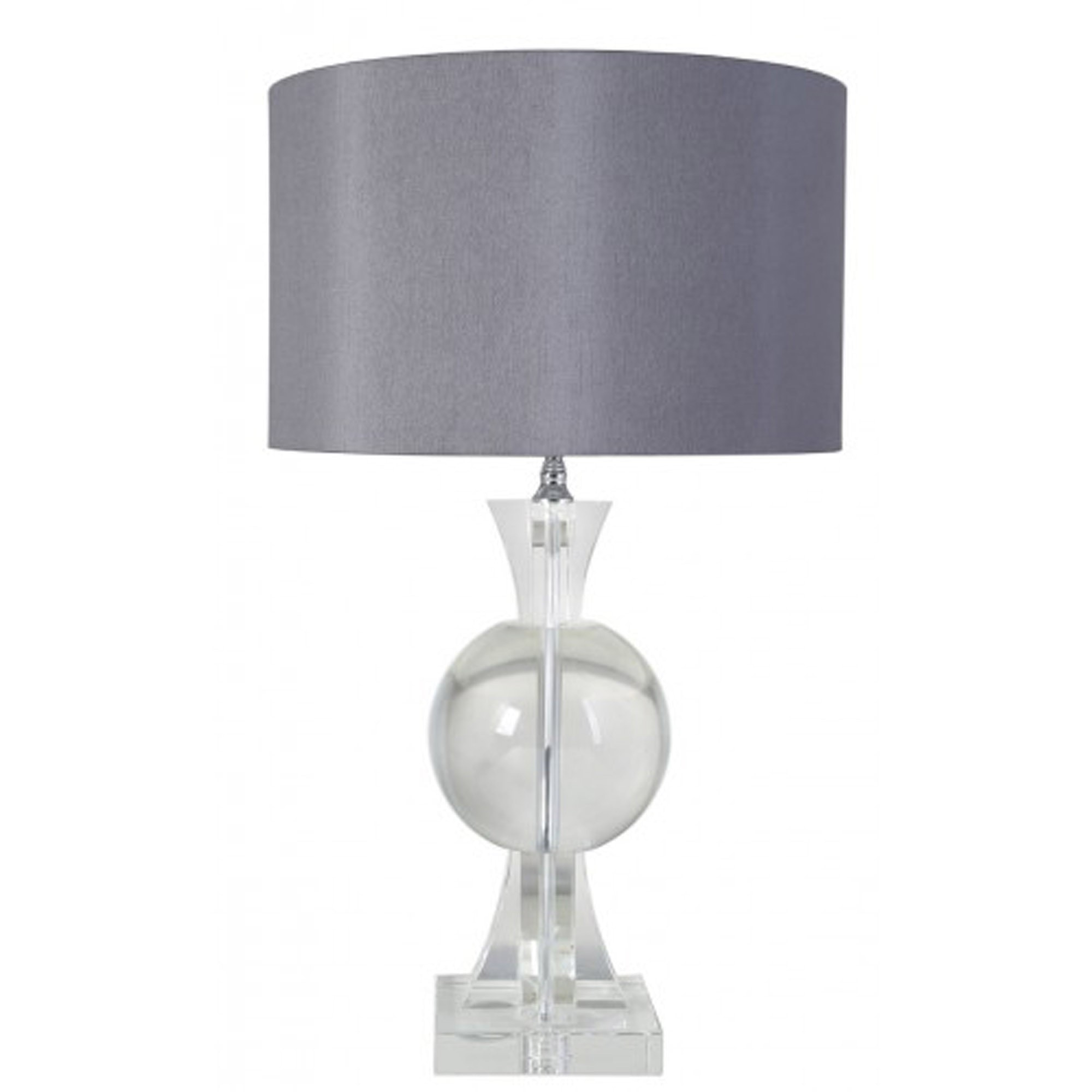 Crystal Thistle Table Lamp With Grey Shade Contemporary Table Lamps