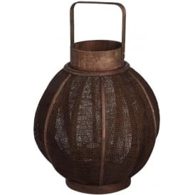 Dark Brown Flax Lantern