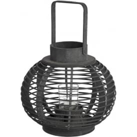 Dark Brown Woven Wooden Lantern
