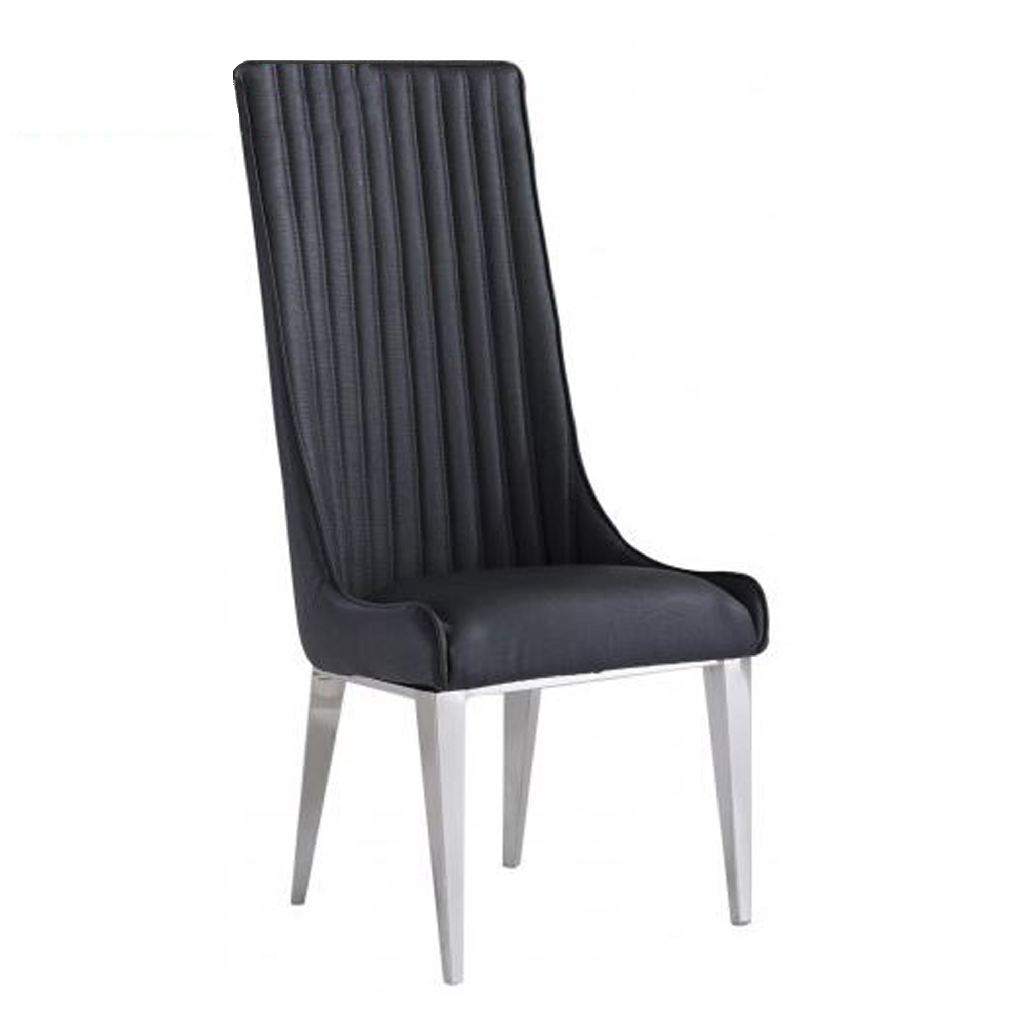 Dark Grey And Chrome Dining Chair (Set Of 2) | Dining Chairs