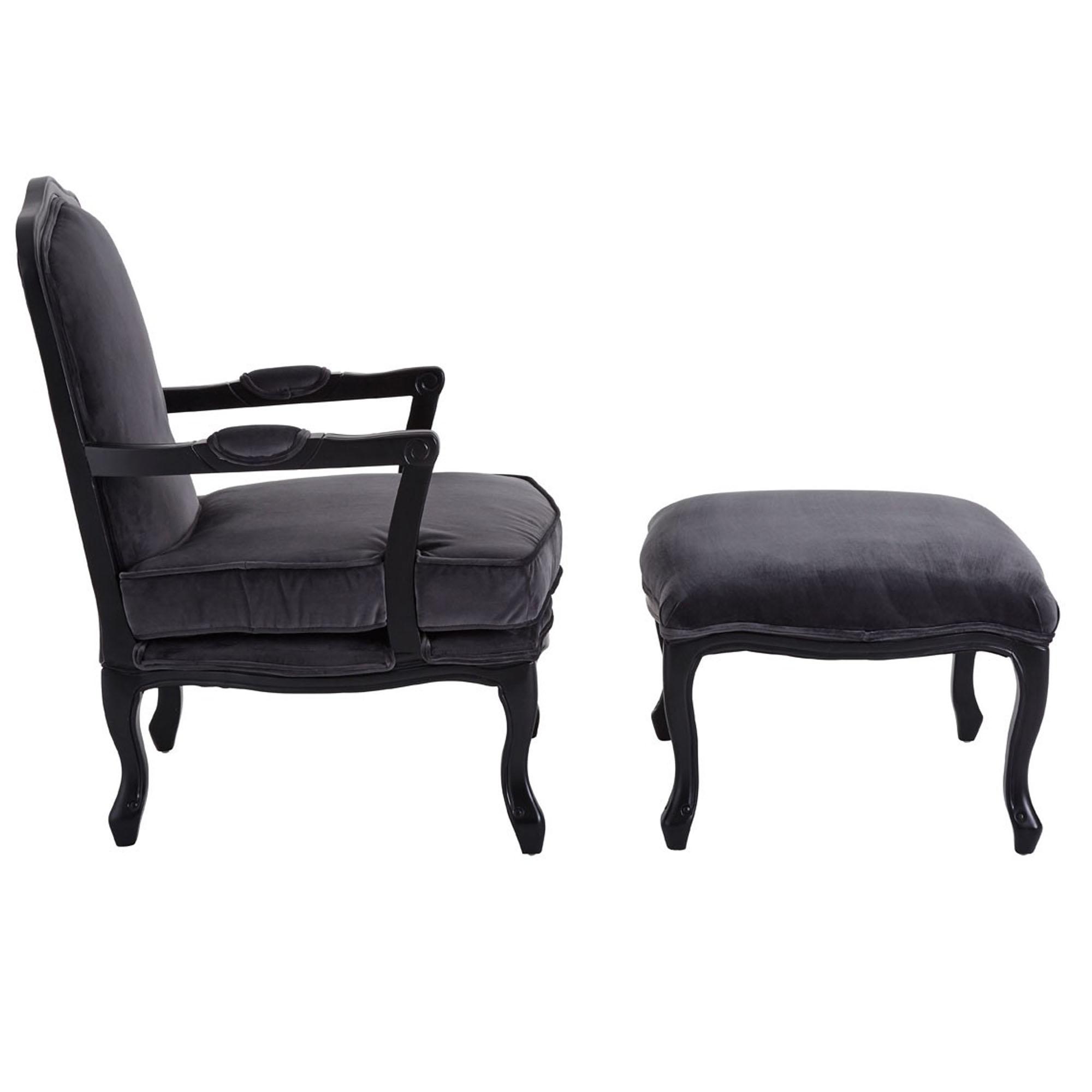 Dark Grey Rococo Chair U0026amp; Footstool