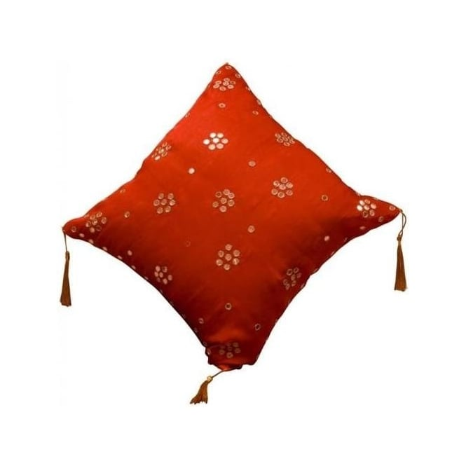 Dark Red Cushion with Small Mirrors