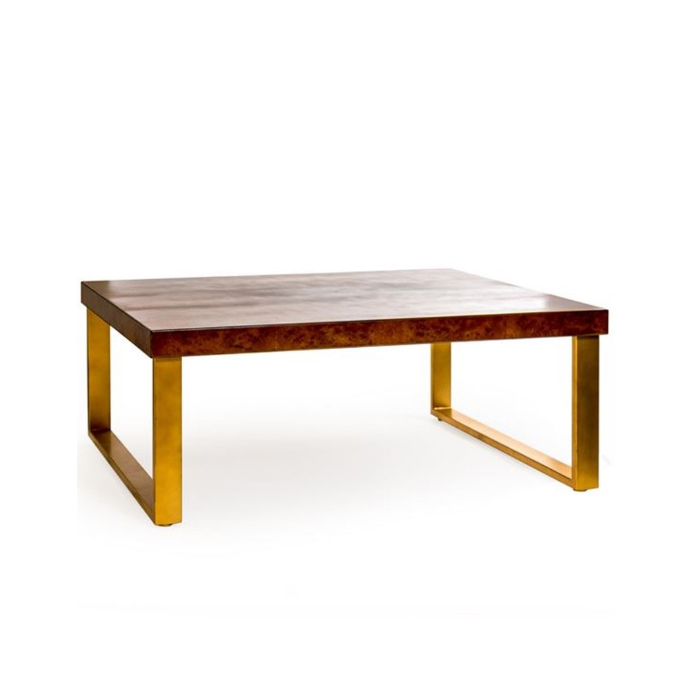Dark Wooden Coffee Table With Brass Style Detailing Coffee Table
