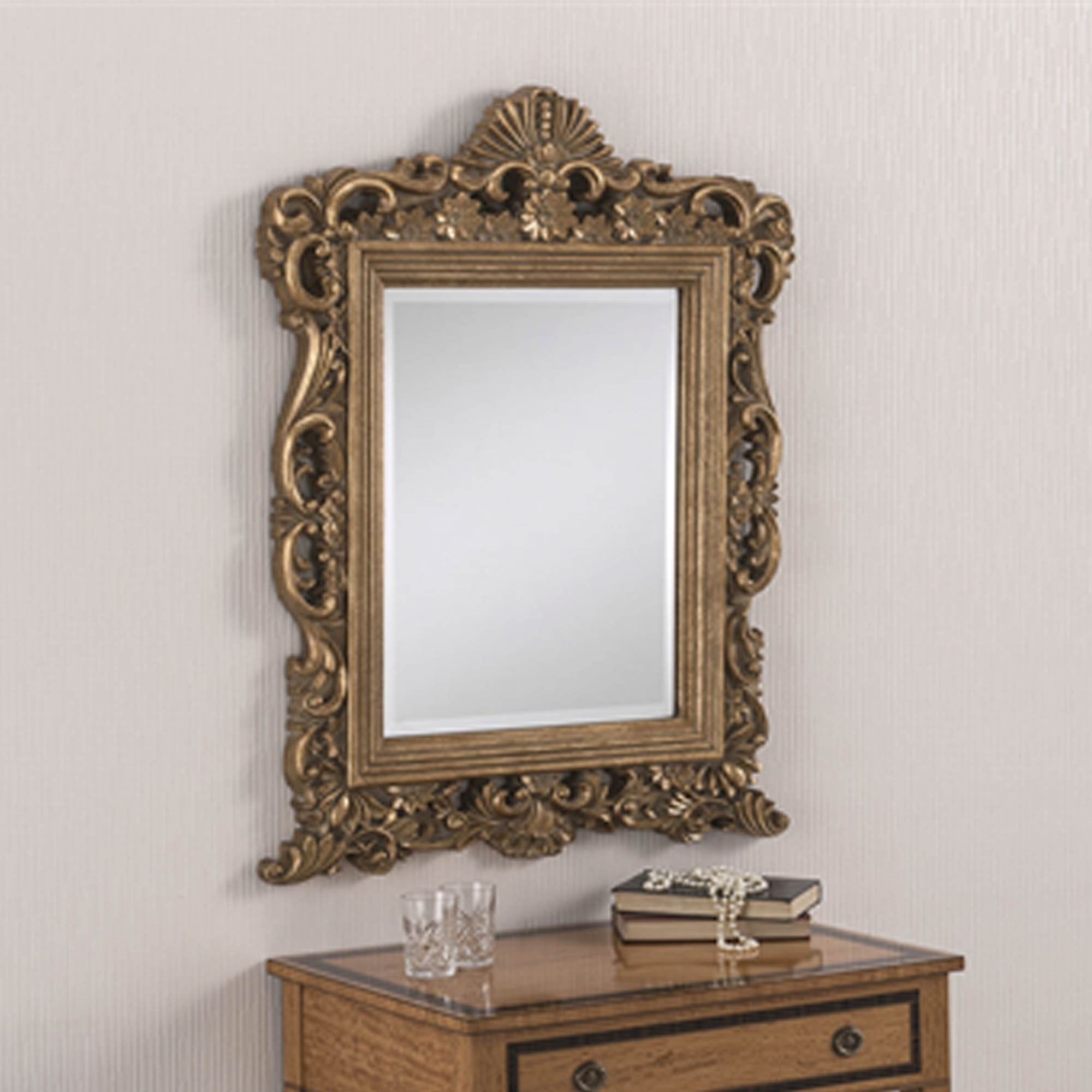 Decorative Antique French Style Gold Ornate Wall Mirror