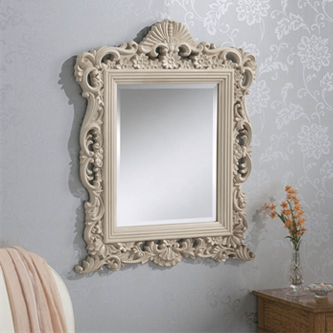 Decorative Antique French Style Ivory Ornate Wall Mirror