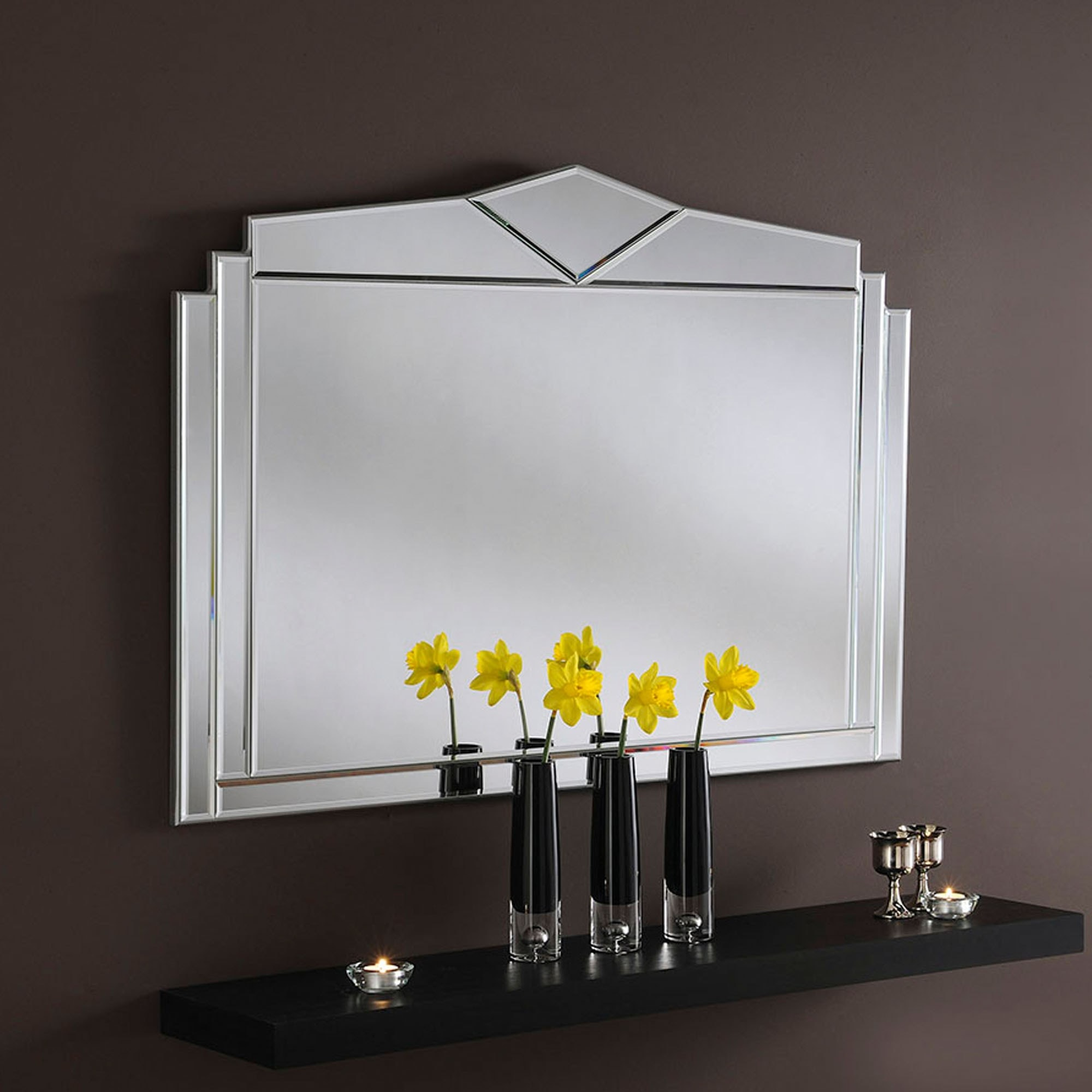 Decorative Art Deco Silver Wall Mirror