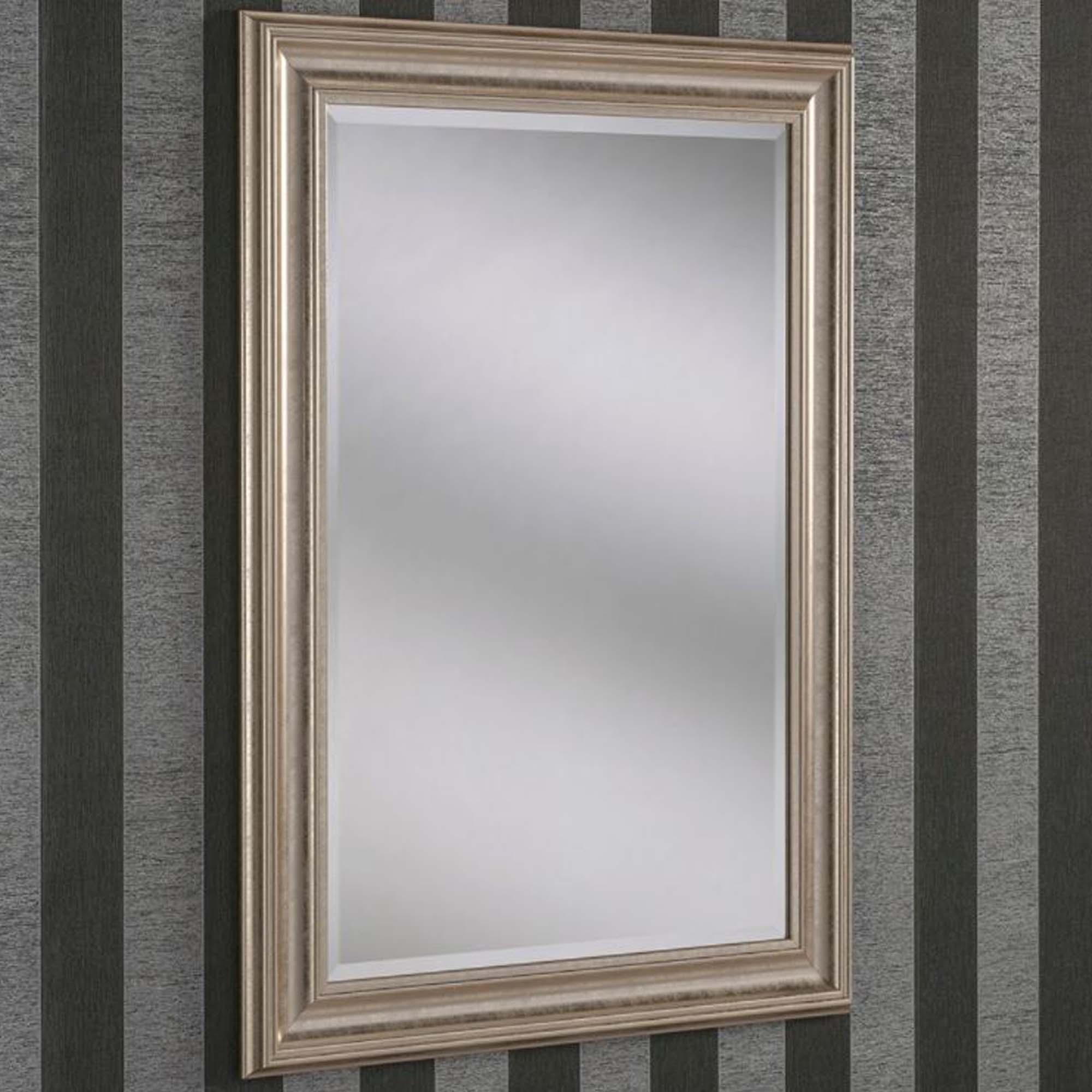 Decorative champagne rectangular wall mirror