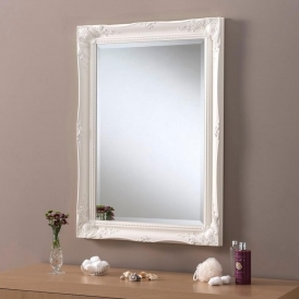 Decorative Ornate Antique French Style White Wall Mirror