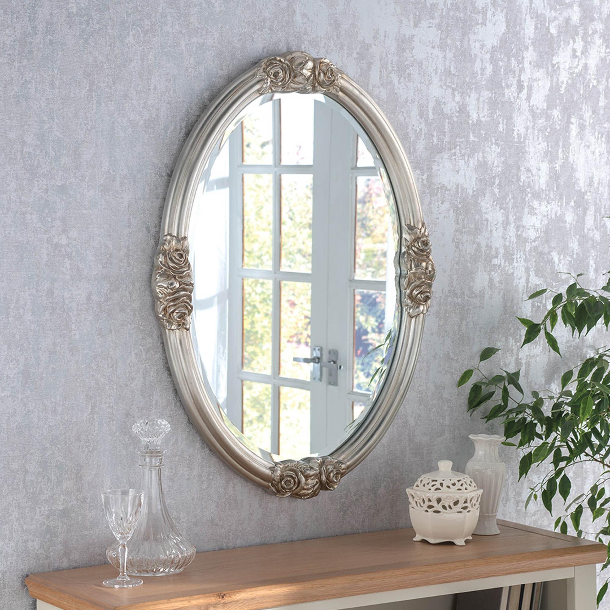 Silver Wall Mirrors Decorative.Decorative Oval Silver Ornate Wall Mirror